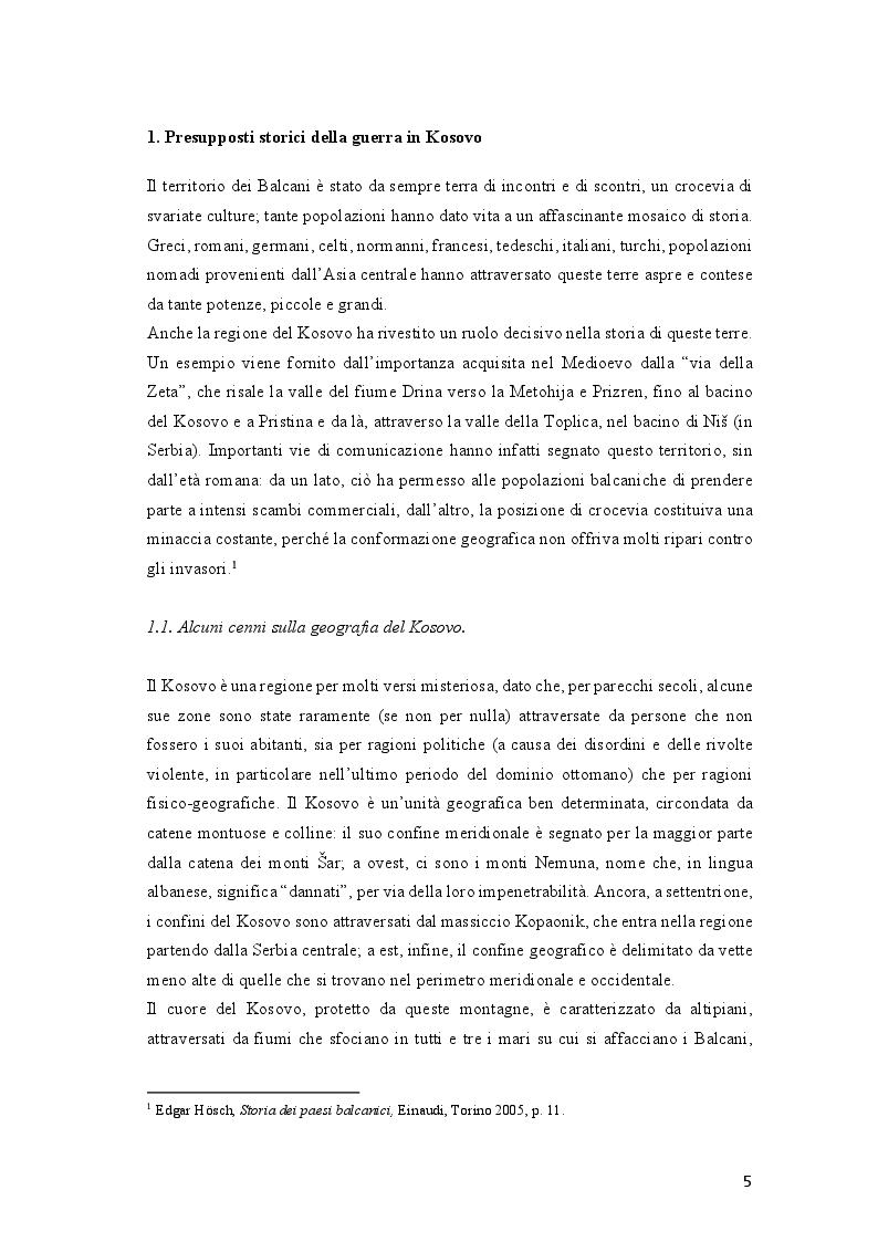 Anteprima della tesi: Come si racconta(va) la guerra: il conflitto del Kosovo nelle cronache del ''Corriere della Sera'' e del ''manifesto'', Pagina 5