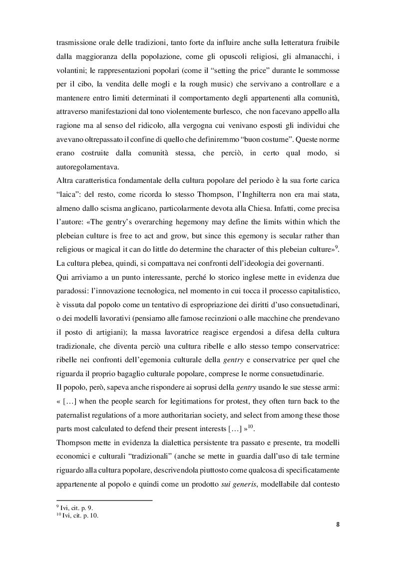 Anteprima della tesi: Edward Palmer Thompson e la cultura plebea nell'Inghilterra del XVIII secolo, Pagina 7