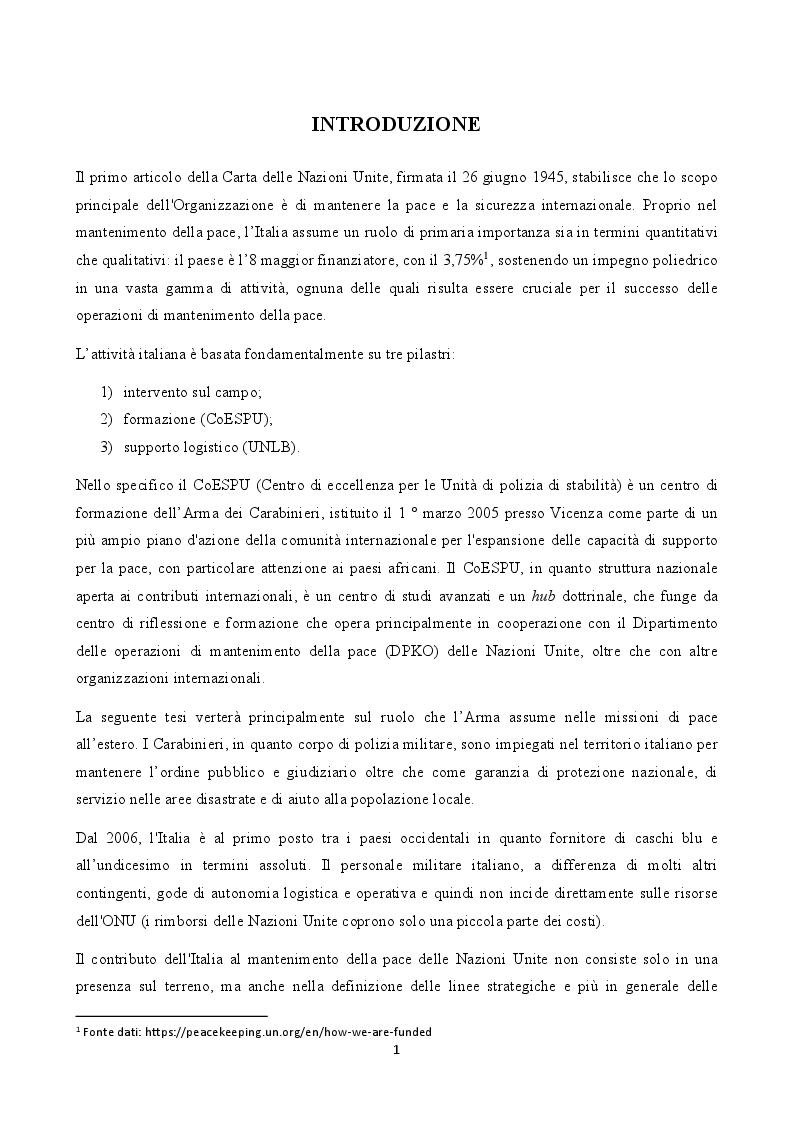 Anteprima della tesi: La figura del carabiniere all'estero: il ruolo militare e diplomatico, Pagina 2