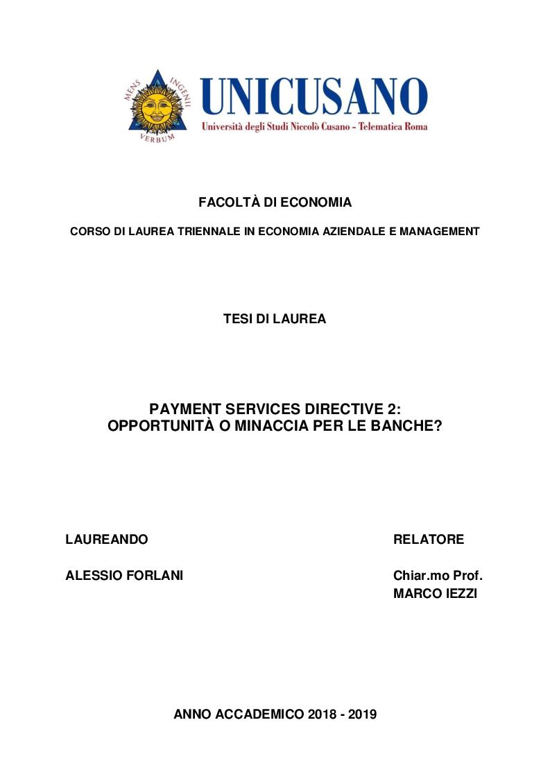Anteprima della tesi: Payment Services Directive 2: opportunità o minaccia per le banche?, Pagina 1