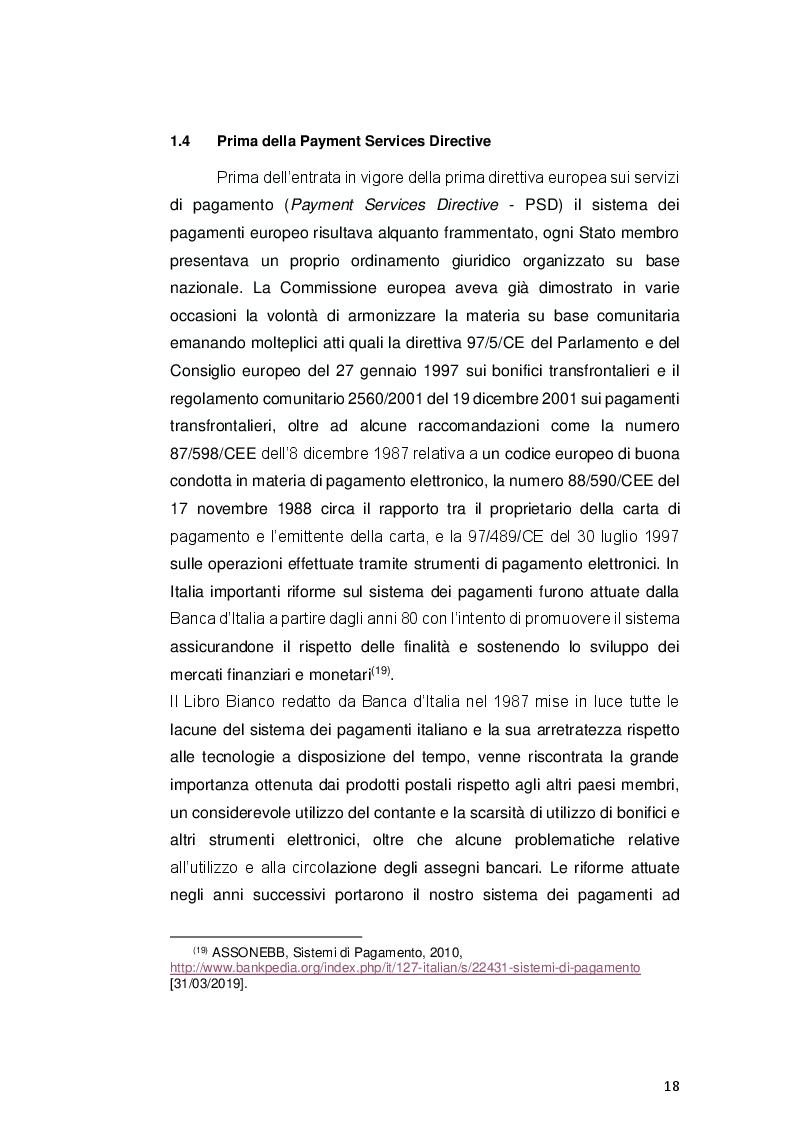Anteprima della tesi: Payment Services Directive 2: opportunità o minaccia per le banche?, Pagina 6