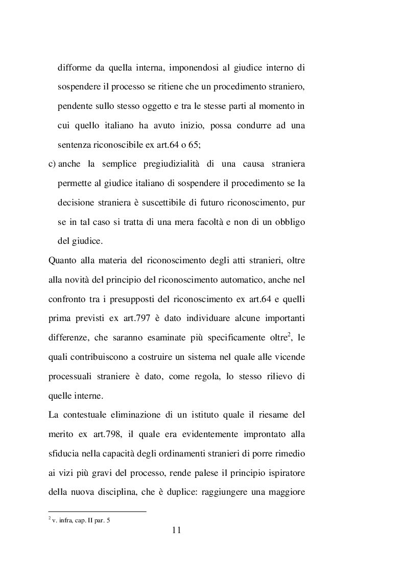 Anteprima della tesi: Sentenze straniere e Diritto internazionale privato: l'art. 65 della legge 30 maggio 1995 n. 218, Pagina 10
