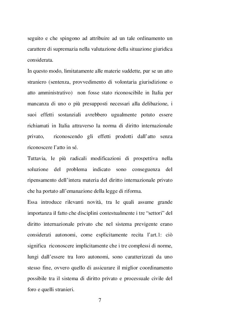 Anteprima della tesi: Sentenze straniere e Diritto internazionale privato: l'art. 65 della legge 30 maggio 1995 n. 218, Pagina 6