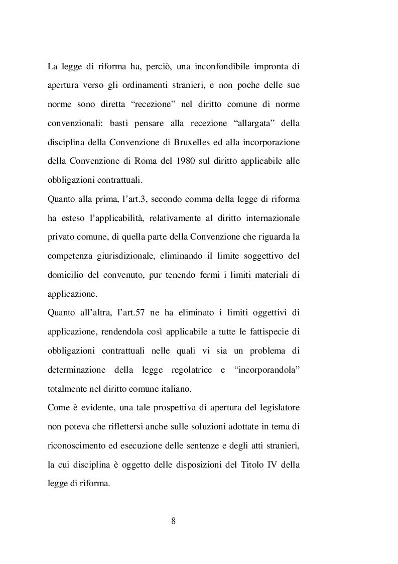 Anteprima della tesi: Sentenze straniere e Diritto internazionale privato: l'art. 65 della legge 30 maggio 1995 n. 218, Pagina 7