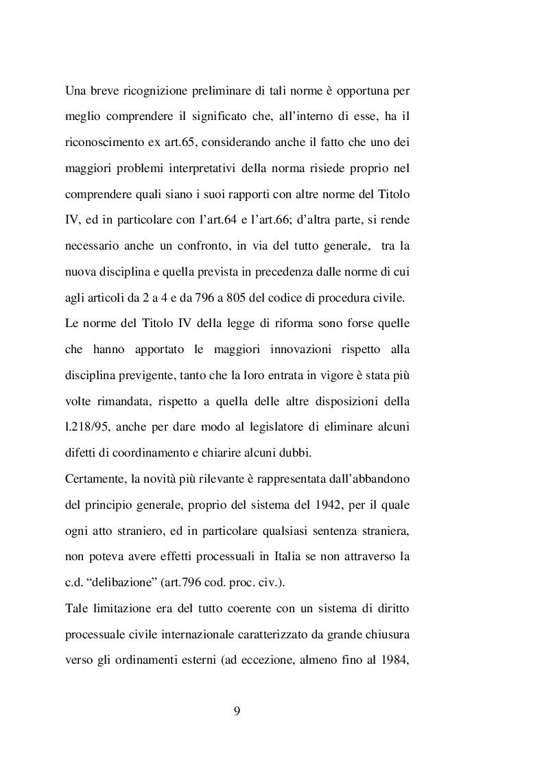 Anteprima della tesi: Sentenze straniere e Diritto internazionale privato: l'art. 65 della legge 30 maggio 1995 n. 218, Pagina 8