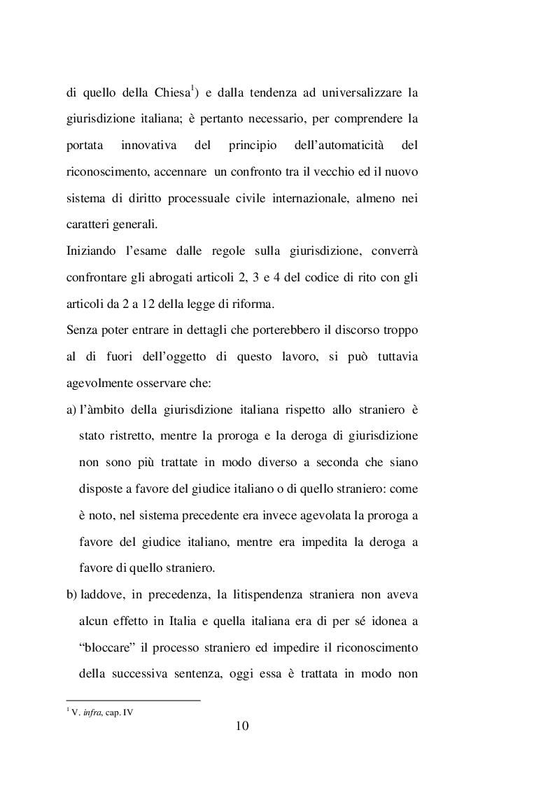 Anteprima della tesi: Sentenze straniere e Diritto internazionale privato: l'art. 65 della legge 30 maggio 1995 n. 218, Pagina 9