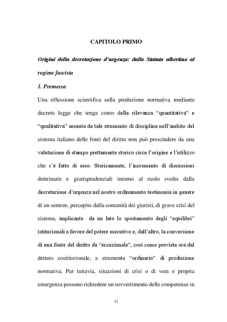 Anteprima della tesi: La decretazione d'urgenza nella riflessione costituzionalistica italiana, Pagina 7
