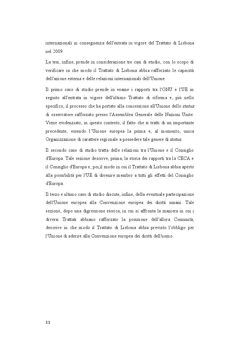 Anteprima della tesi: Il rafforzamento delle capacità delle relazioni internazionali dell'Unione Europea dopo il Trattato di Lisbona, Pagina 4