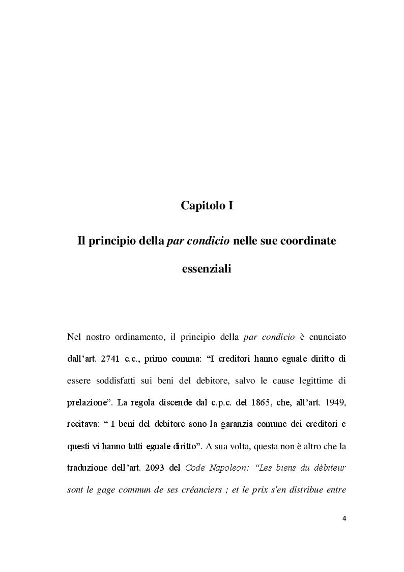 Anteprima della tesi: Par condicio e intervento dei creditori, Pagina 2