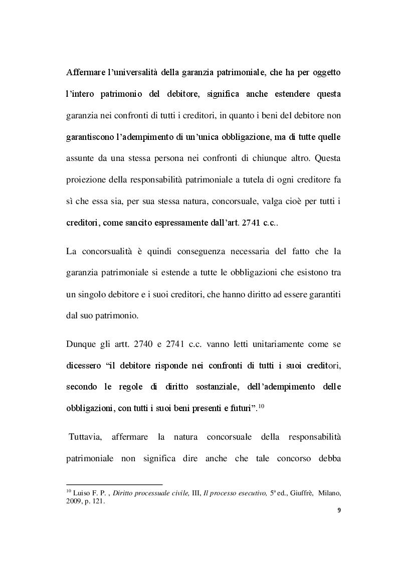 Anteprima della tesi: Par condicio e intervento dei creditori, Pagina 7