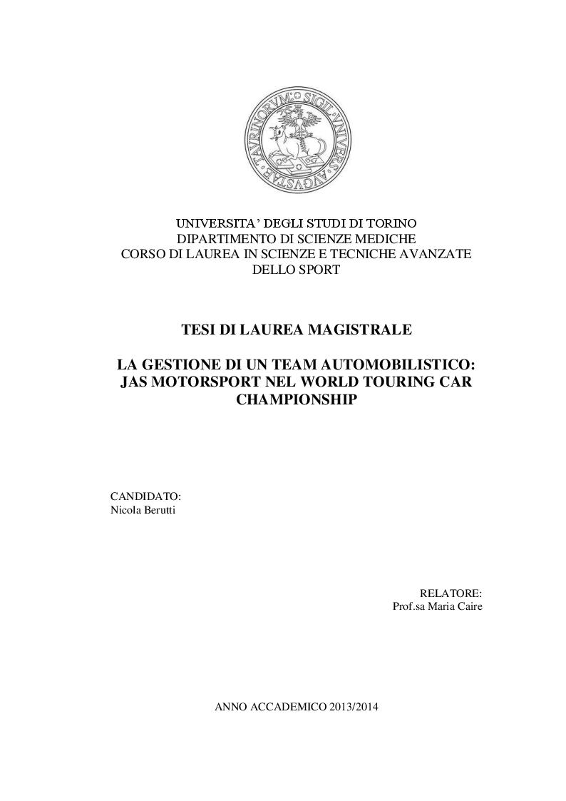 Anteprima della tesi: La gestione di un team automobilistico: Jas Motorsport nel World Touring Car Championship, Pagina 1
