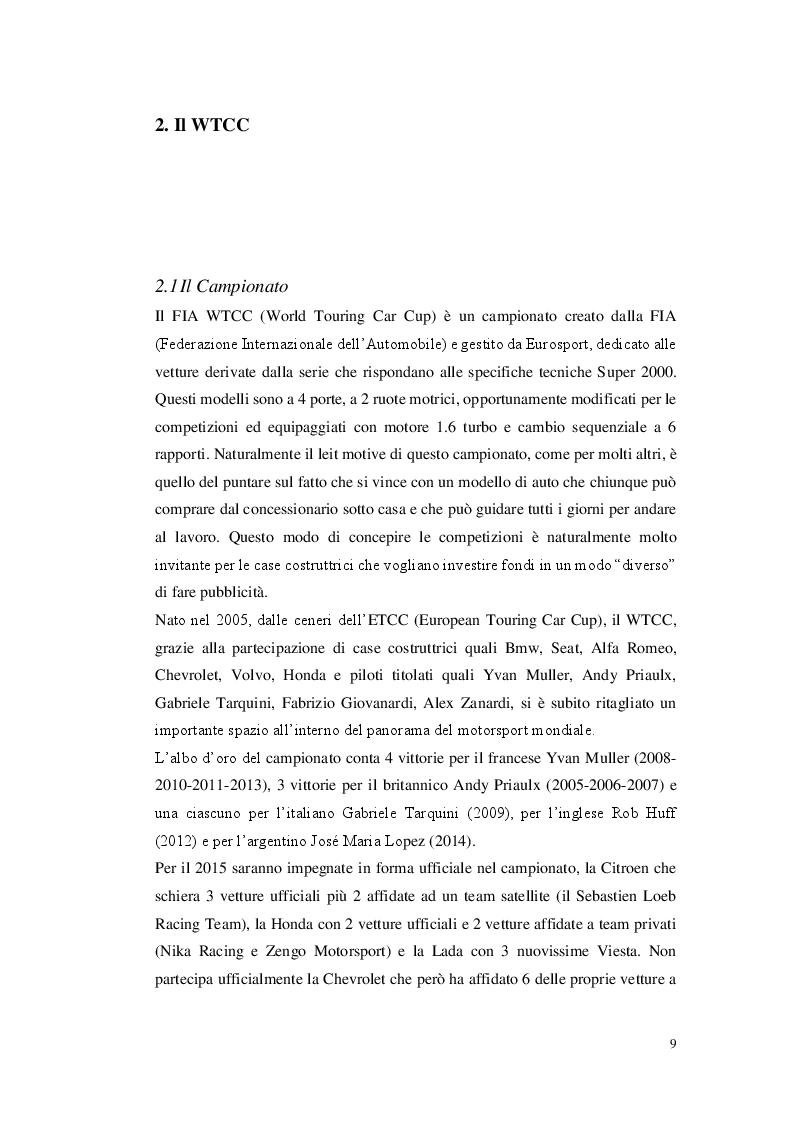 Anteprima della tesi: La gestione di un team automobilistico: Jas Motorsport nel World Touring Car Championship, Pagina 2