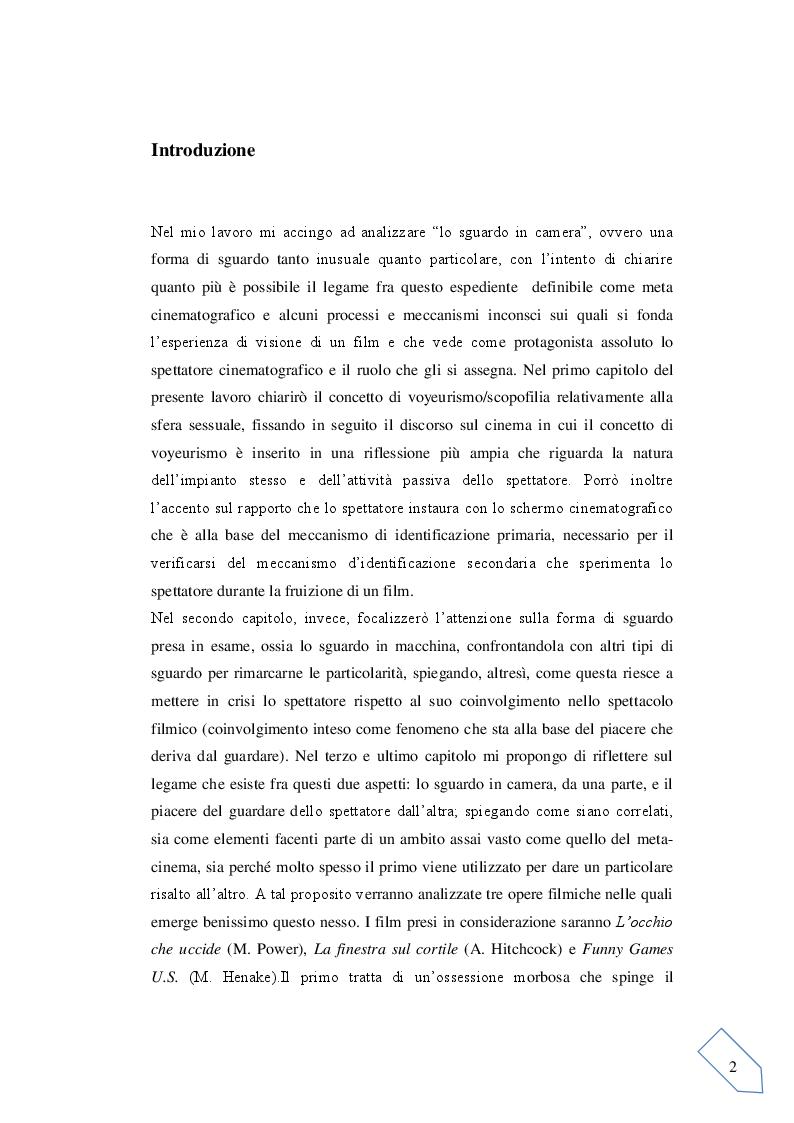 Anteprima della tesi: Il voyeurismo dello spettatore e lo sguardo in macchina: Tre film in analisi, Pagina 2