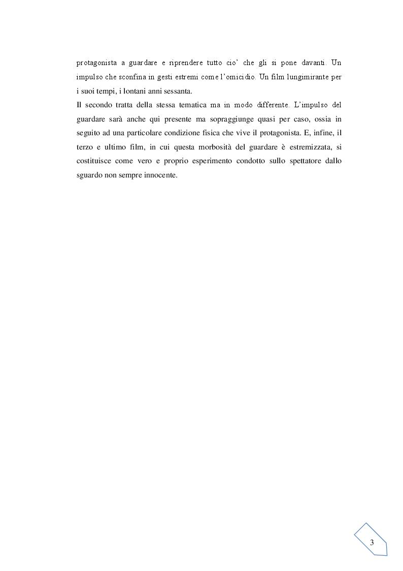 Anteprima della tesi: Il voyeurismo dello spettatore e lo sguardo in macchina: Tre film in analisi, Pagina 3