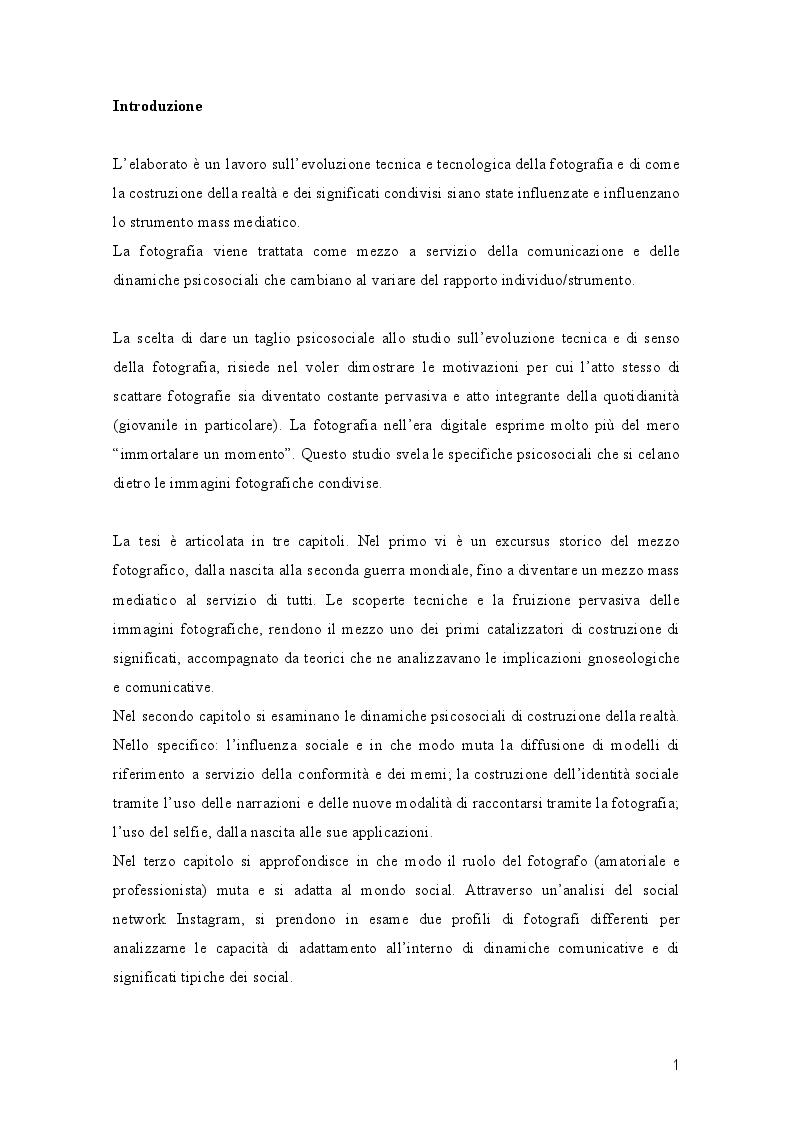 Anteprima della tesi: L'Evoluzione della fotografia: Trasformazioni di significato e mediali a servizio della costruzione della realtà, Pagina 2