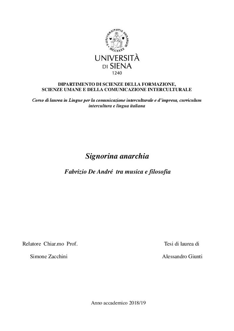 Anteprima della tesi: Signorina anarchia. Fabrizio De André tra musica e filosofia, Pagina 1