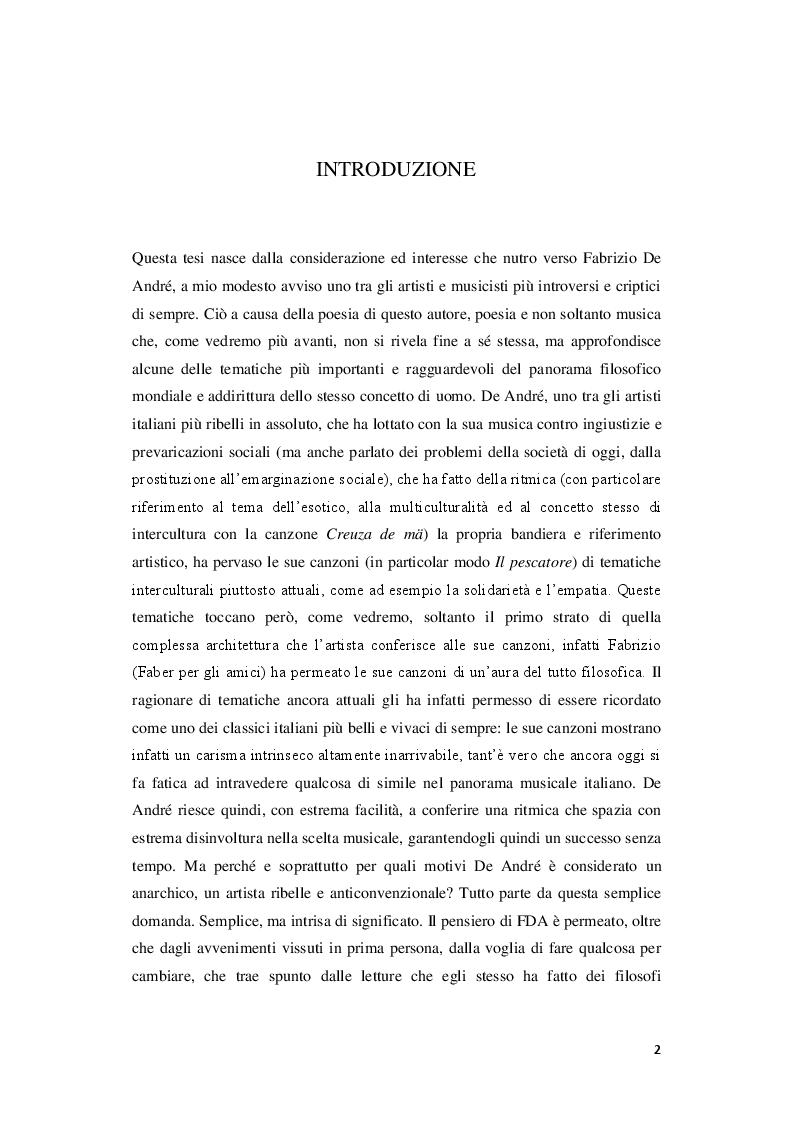 Anteprima della tesi: Signorina anarchia. Fabrizio De André tra musica e filosofia, Pagina 2