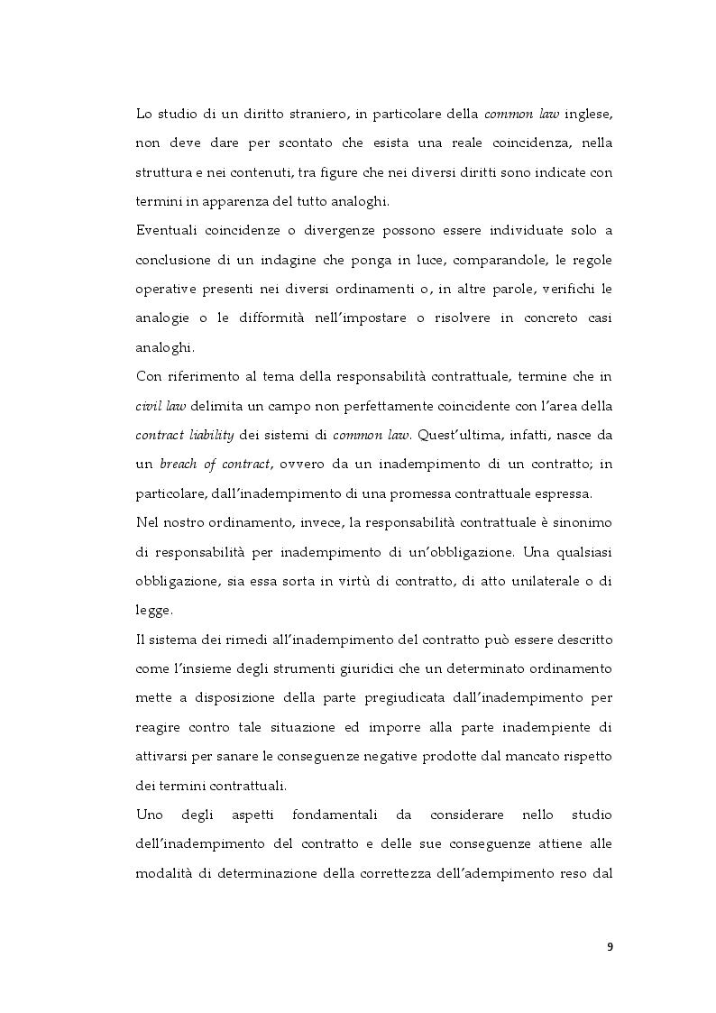 Anteprima della tesi: Tipologie di risarcimento del danno contrattuale. Profili di diritto comparato, Pagina 8