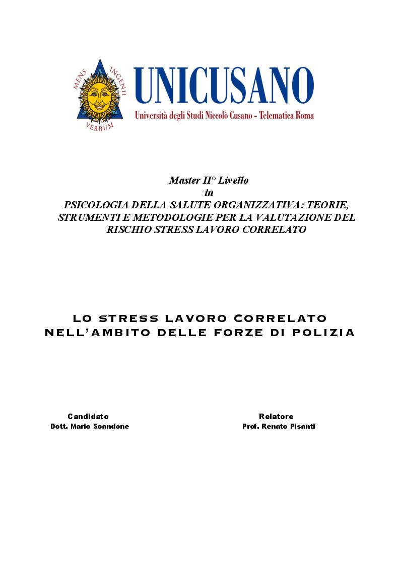 Anteprima della tesi: Lo stress lavoro correlato nell'ambito delle forze di polizia, Pagina 1