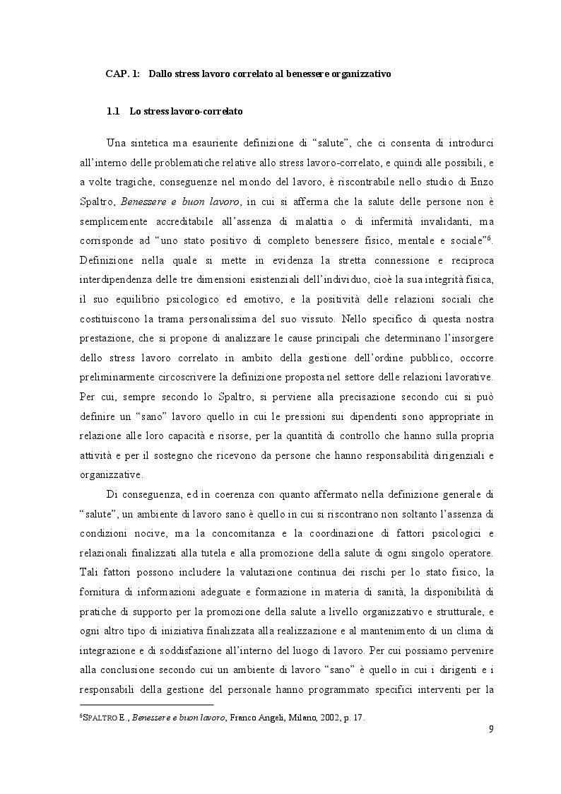 Anteprima della tesi: Lo stress lavoro correlato nell'ambito delle forze di polizia, Pagina 8