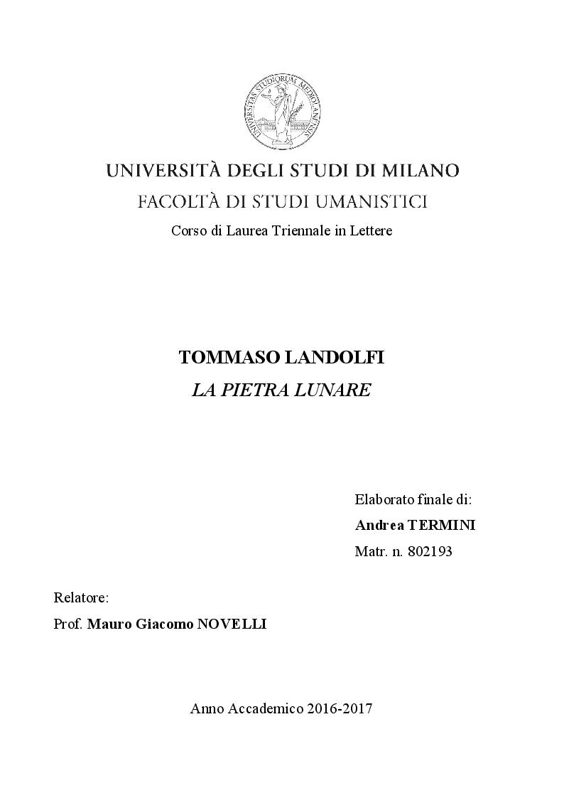 Anteprima della tesi: Tommaso Landolfi. La pietra lunare, Pagina 1