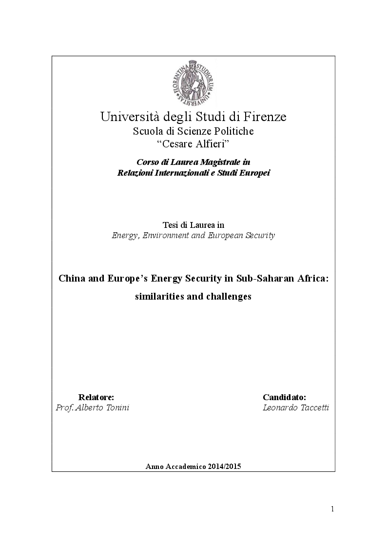 Anteprima della tesi: China and Europe's Energy Security in Sub-Saharan Africa: similarities and challenges, Pagina 1