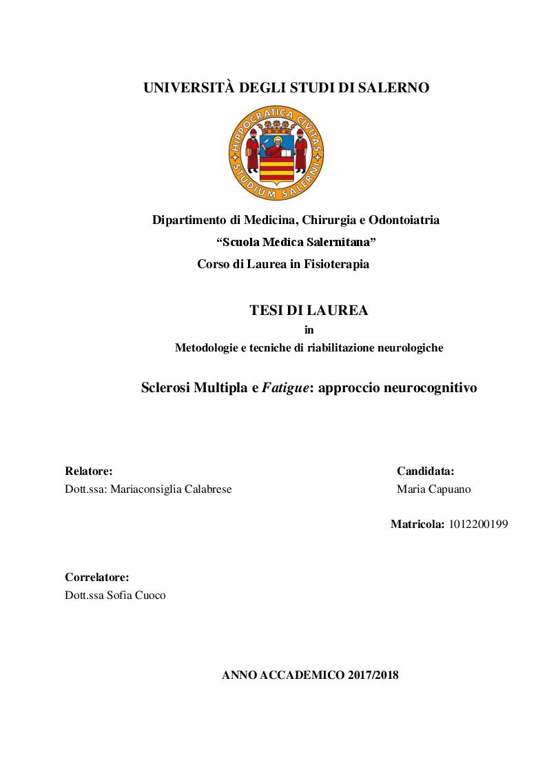 Anteprima della tesi: Sclerosi Multipla e fatigue: approccio neurocognitivo, Pagina 1