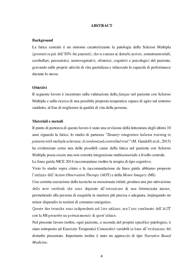 Anteprima della tesi: Sclerosi Multipla e fatigue: approccio neurocognitivo, Pagina 2
