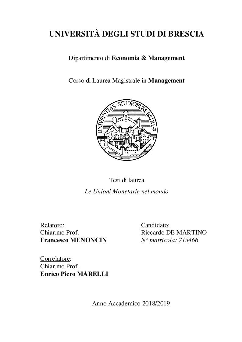 Anteprima della tesi: Le unioni monetarie nel mondo, Pagina 1