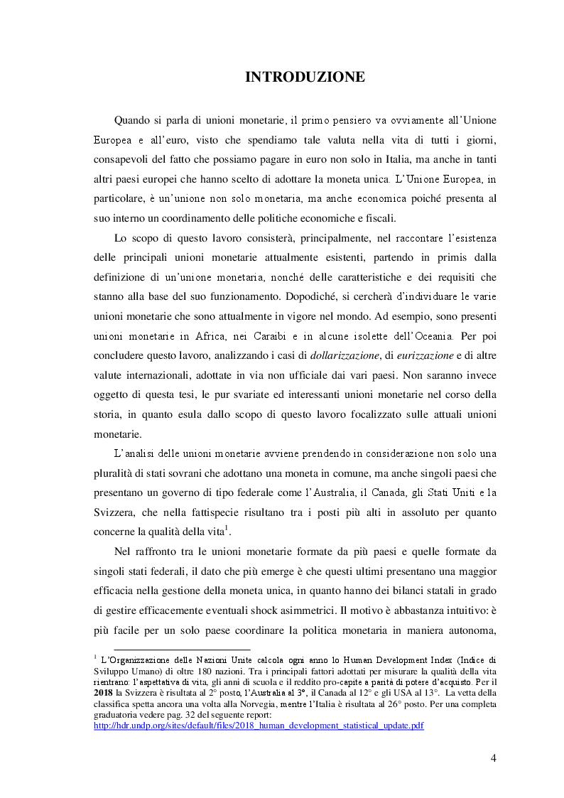 Anteprima della tesi: Le unioni monetarie nel mondo, Pagina 2