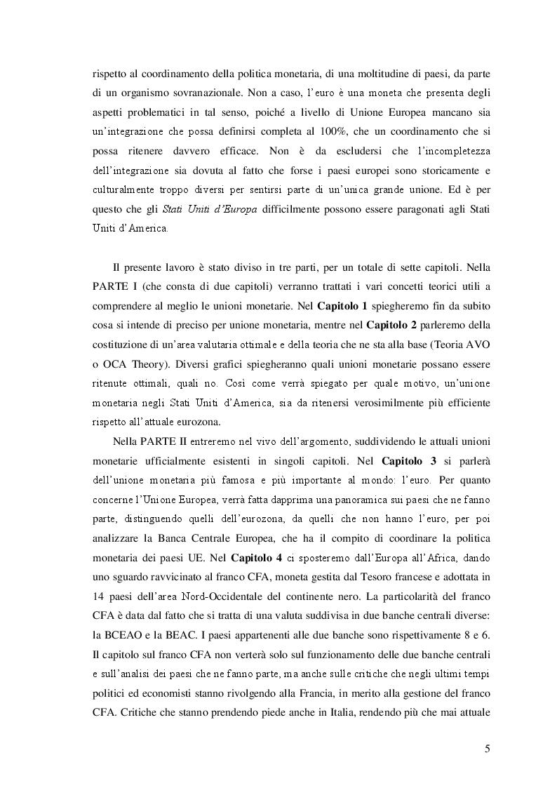 Anteprima della tesi: Le unioni monetarie nel mondo, Pagina 3