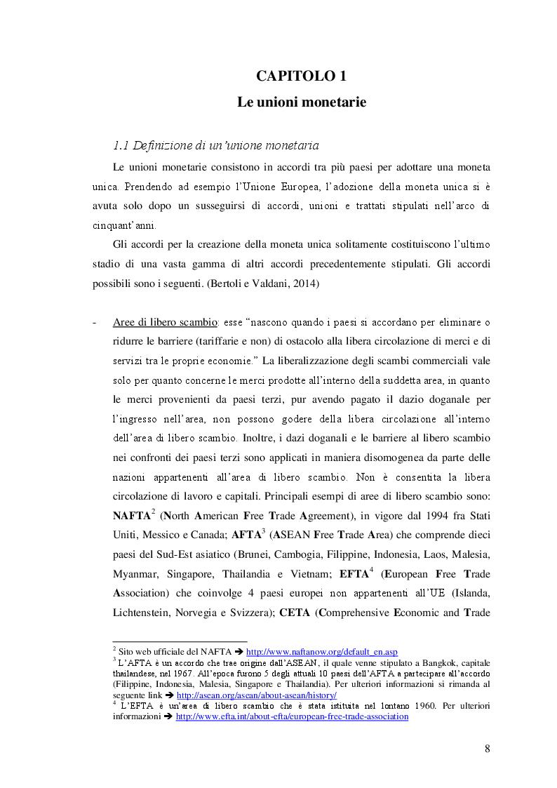 Anteprima della tesi: Le unioni monetarie nel mondo, Pagina 6