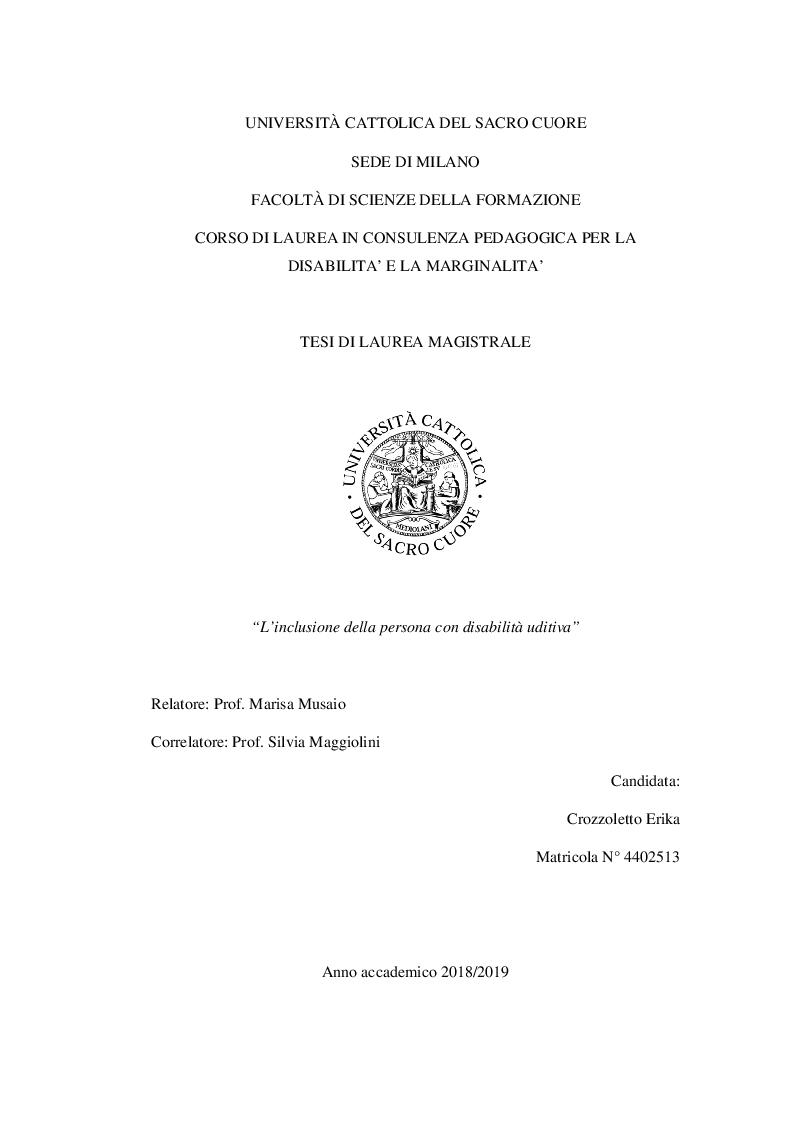 Anteprima della tesi: L'inclusione della persona con disabilità uditiva, Pagina 1