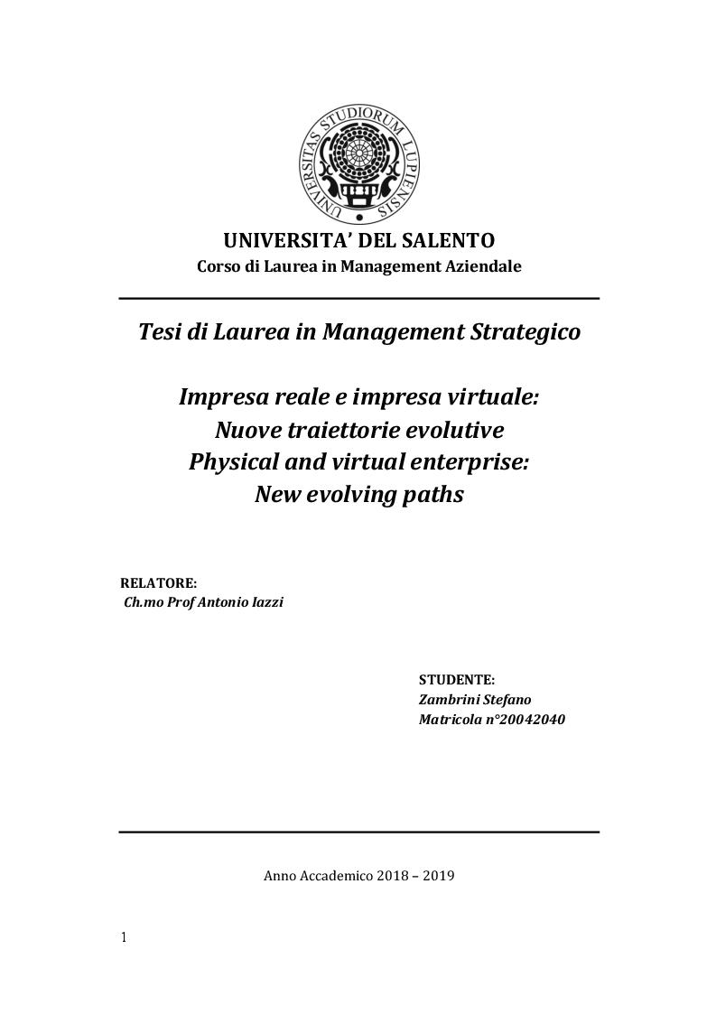 Anteprima della tesi: Impresa reale e impresa virtuale: nuove traiettorie evolutive, Pagina 1
