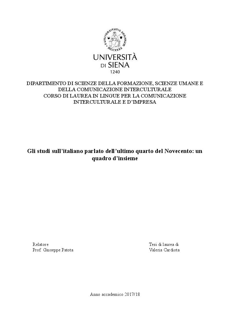 Anteprima della tesi: Gli studi sull'italiano parlato dell'ultimo quarto del Novecento: un quadro d'insieme, Pagina 1