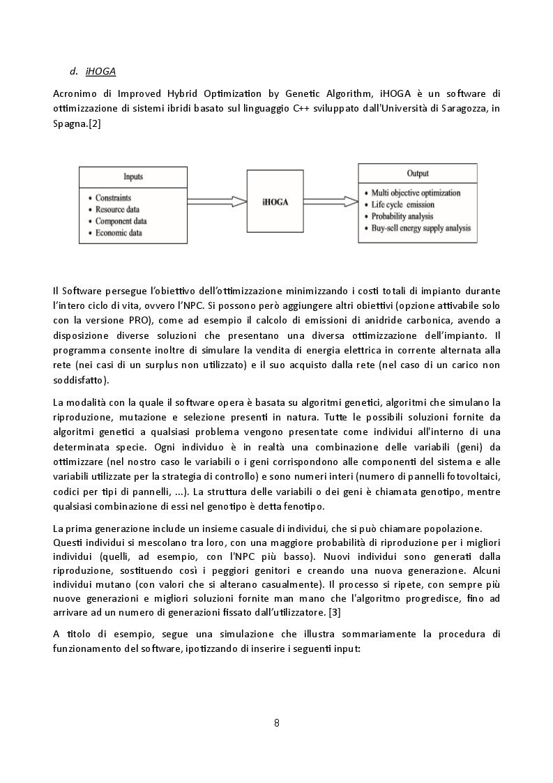 Estratto dalla tesi: Analisi di software per modellazione di mini grid isolate: confronto applicativo tra Homer e iHoga