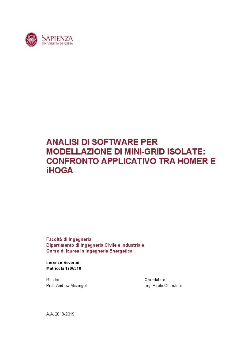 Anteprima della tesi: Analisi di software per modellazione di mini grid isolate: confronto applicativo tra Homer e iHoga, Pagina 1
