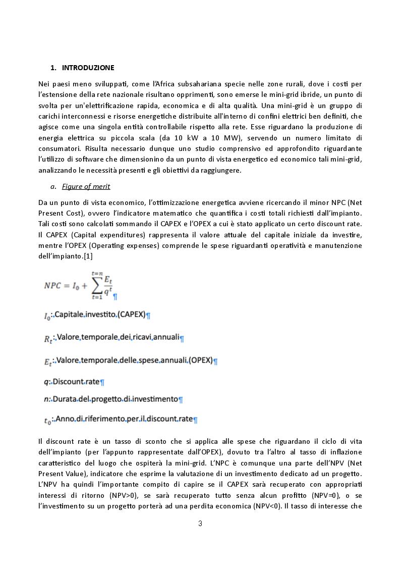 Anteprima della tesi: Analisi di software per modellazione di mini grid isolate: confronto applicativo tra Homer e iHoga, Pagina 3