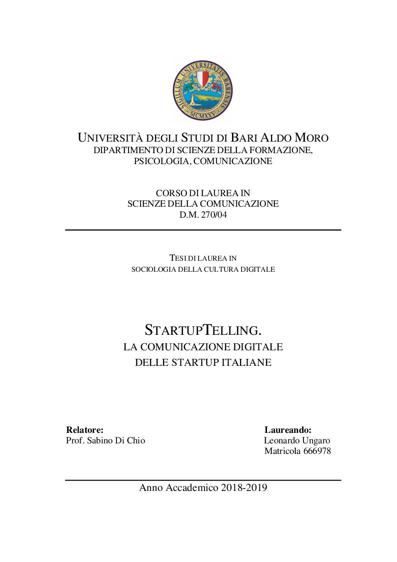 Anteprima della tesi: StartupTelling. La comunicazione digitale delle startup italiane., Pagina 1