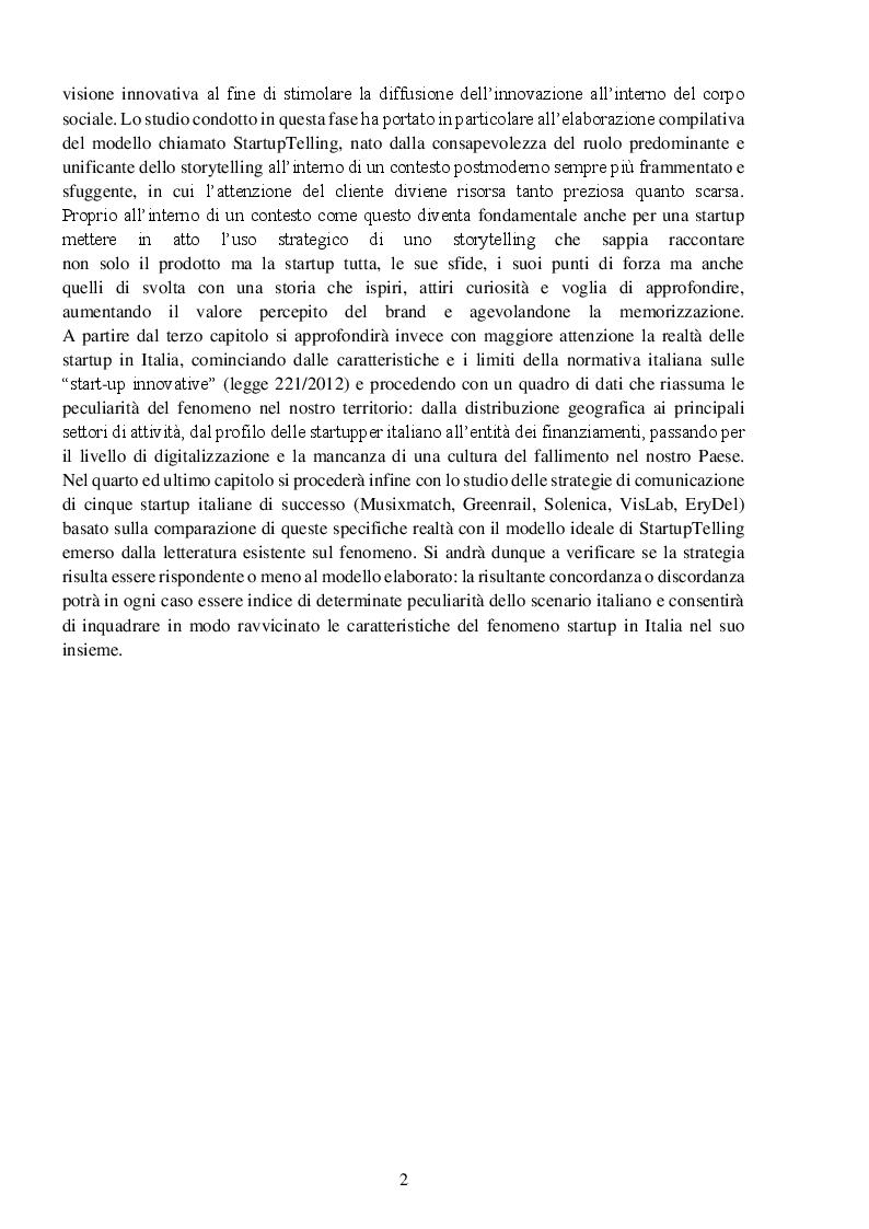 Anteprima della tesi: StartupTelling. La comunicazione digitale delle startup italiane., Pagina 3