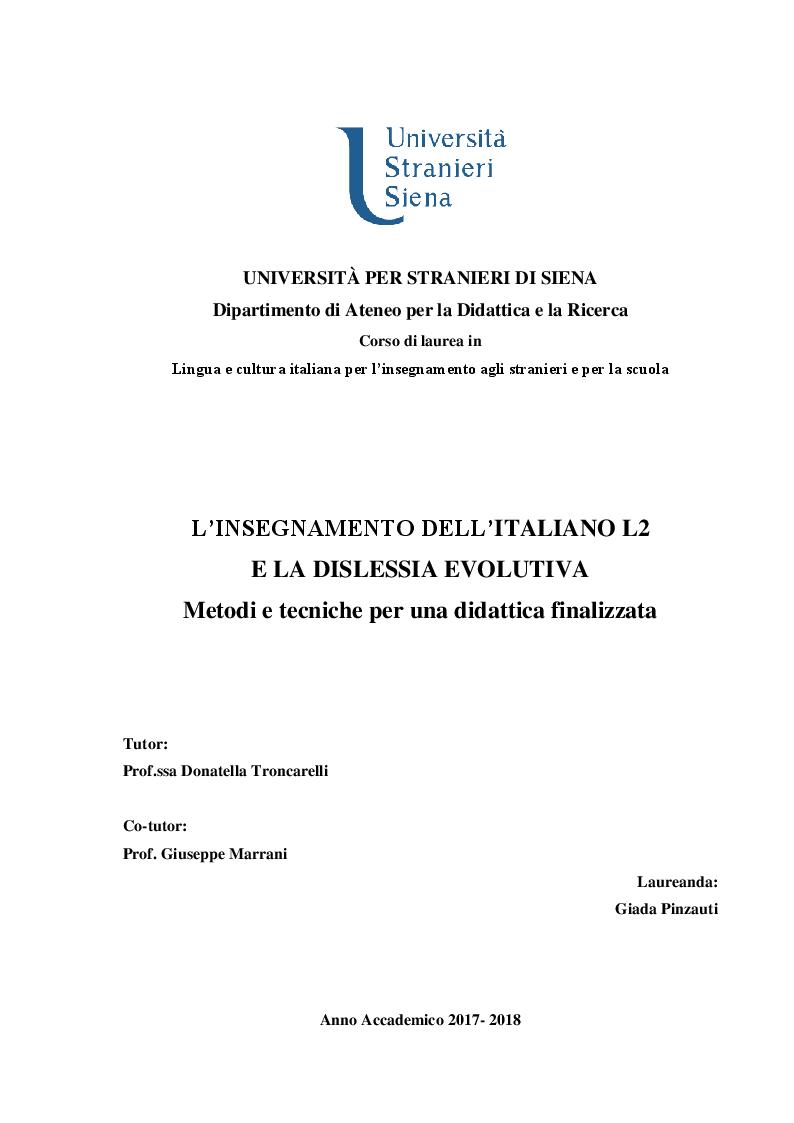 Anteprima della tesi: L'insegnamento dell'italiano L2 e la dislessia evolutiva - Metodi e tecniche per una didattica finalizzata, Pagina 1