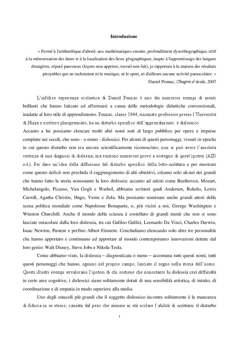 Anteprima della tesi: L'insegnamento dell'italiano L2 e la dislessia evolutiva - Metodi e tecniche per una didattica finalizzata, Pagina 2