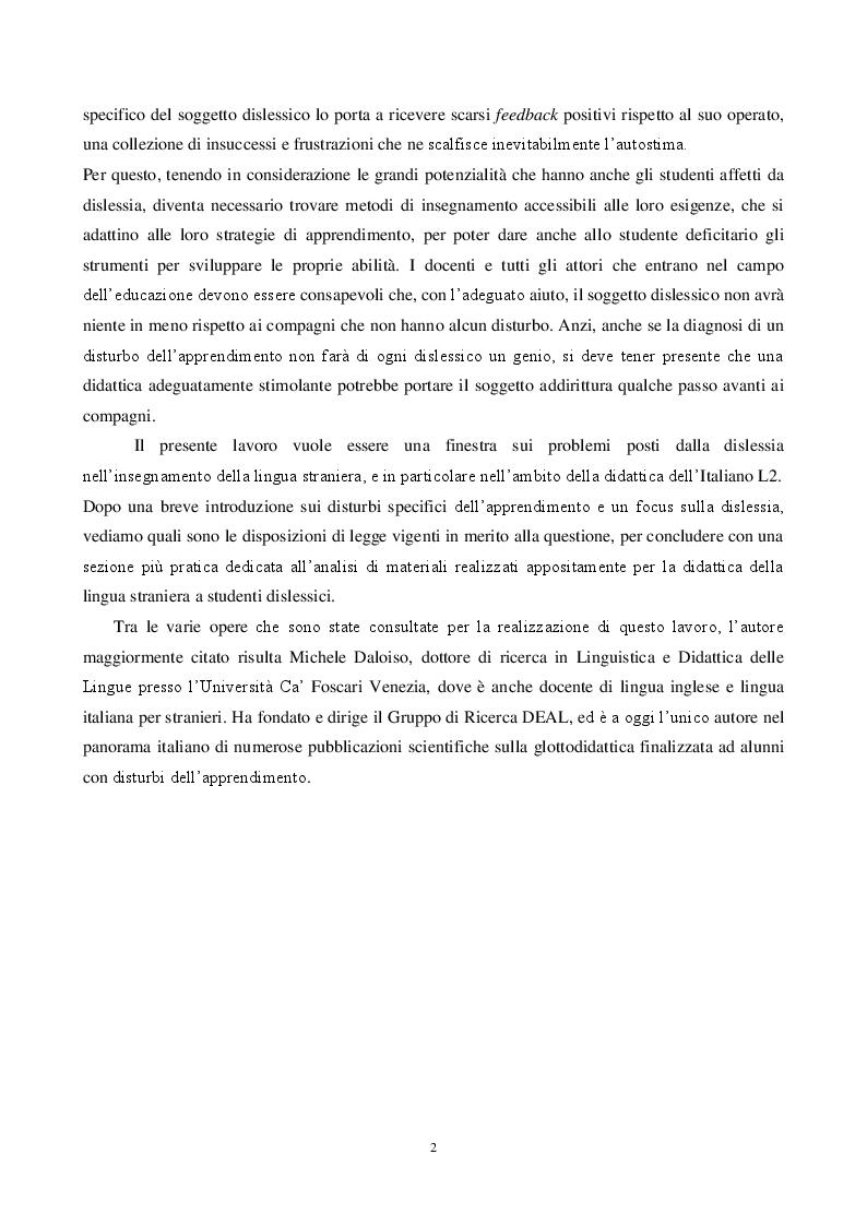 Anteprima della tesi: L'insegnamento dell'italiano L2 e la dislessia evolutiva - Metodi e tecniche per una didattica finalizzata, Pagina 3
