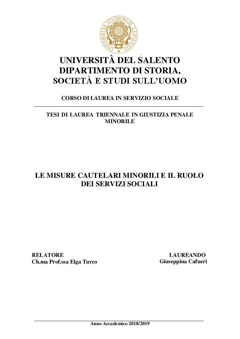 Anteprima della tesi: Le misure cautelari minorili e il ruolo di Servizio Sociale, Pagina 1