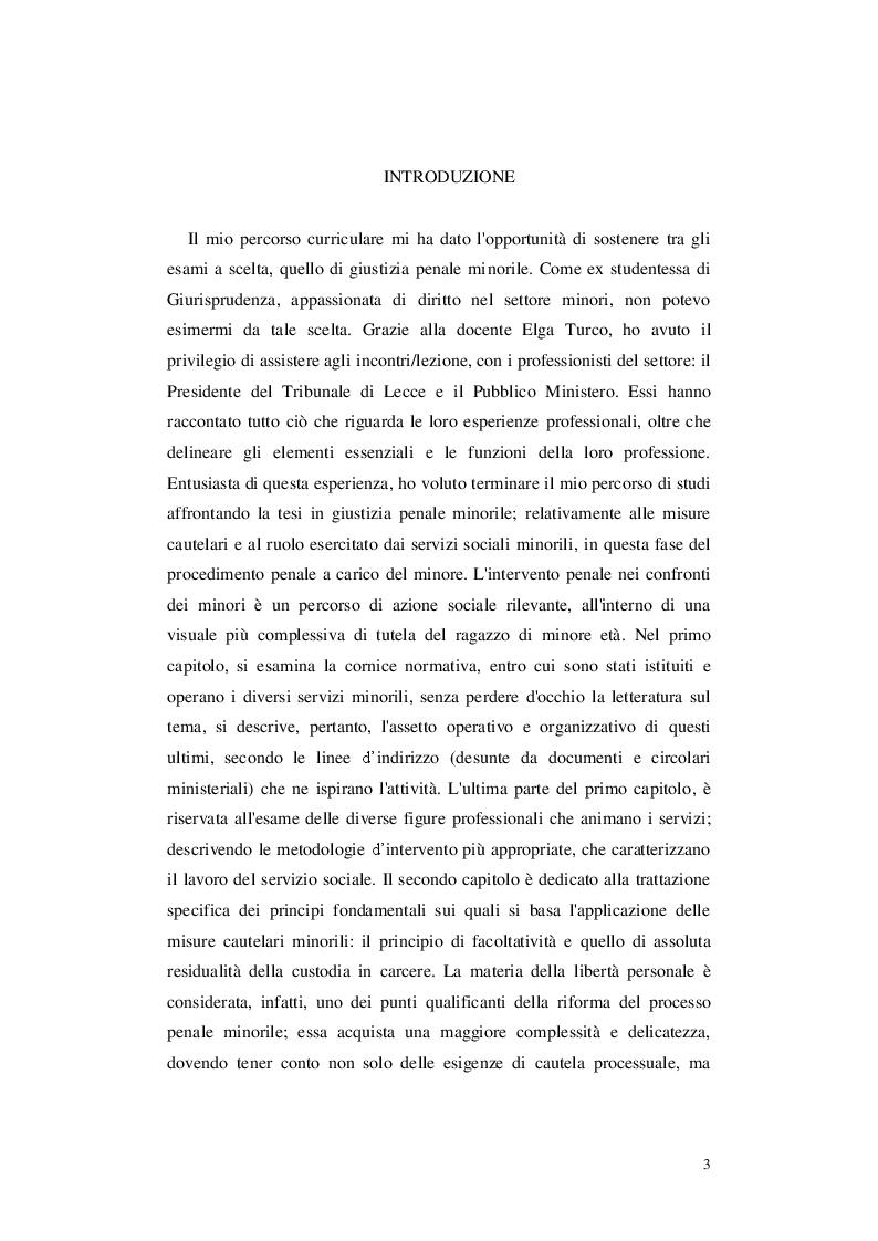 Anteprima della tesi: Le misure cautelari minorili e il ruolo di Servizio Sociale, Pagina 2