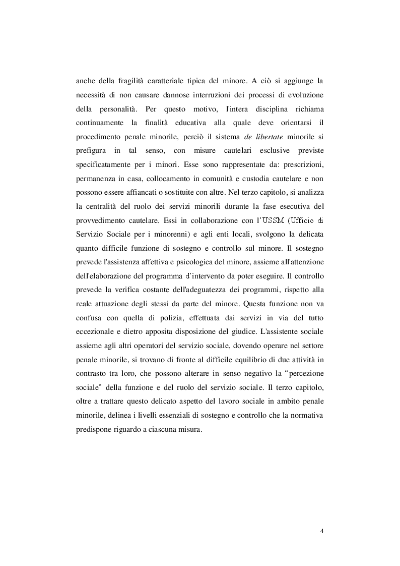 Anteprima della tesi: Le misure cautelari minorili e il ruolo di Servizio Sociale, Pagina 3