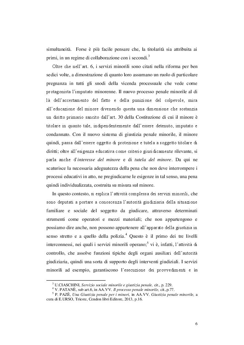 Anteprima della tesi: Le misure cautelari minorili e il ruolo di Servizio Sociale, Pagina 5