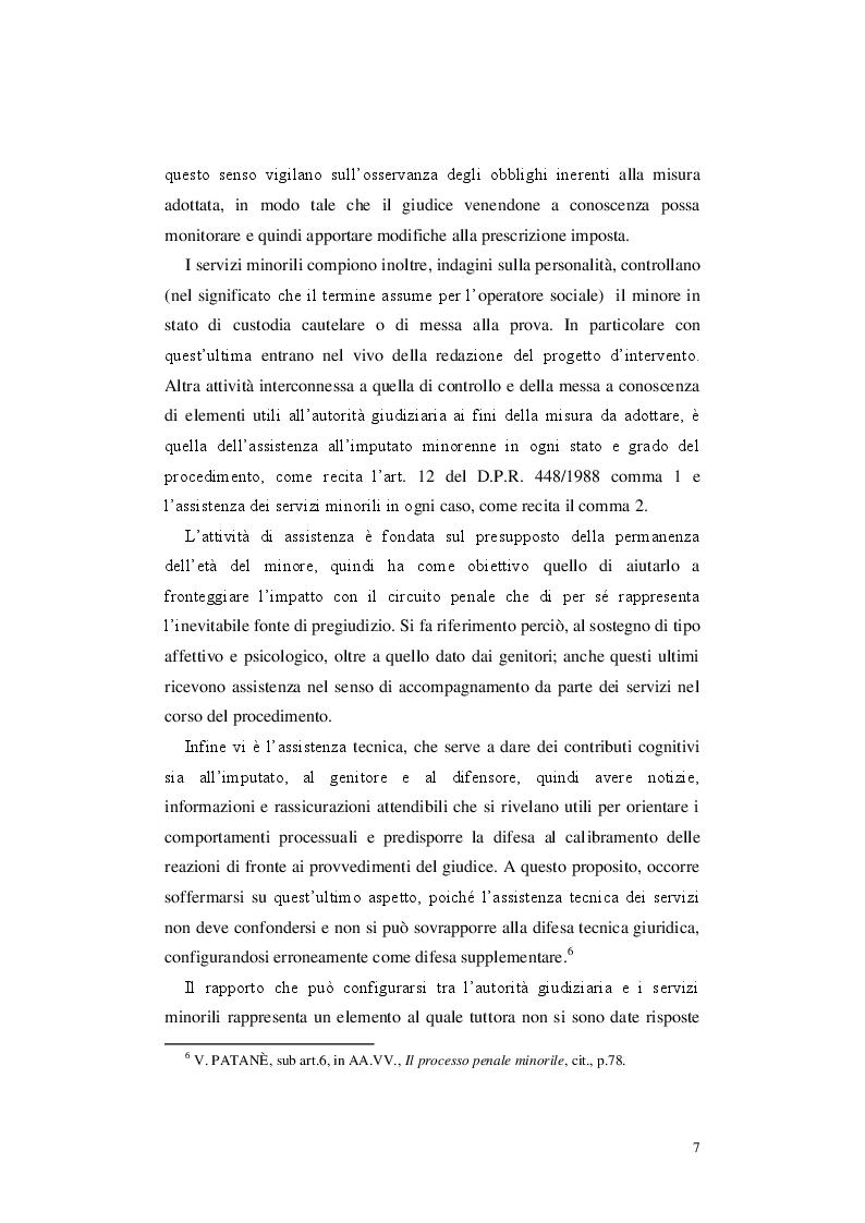 Anteprima della tesi: Le misure cautelari minorili e il ruolo di Servizio Sociale, Pagina 6