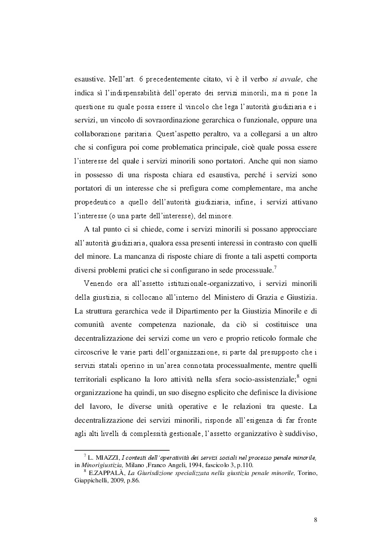 Anteprima della tesi: Le misure cautelari minorili e il ruolo di Servizio Sociale, Pagina 7