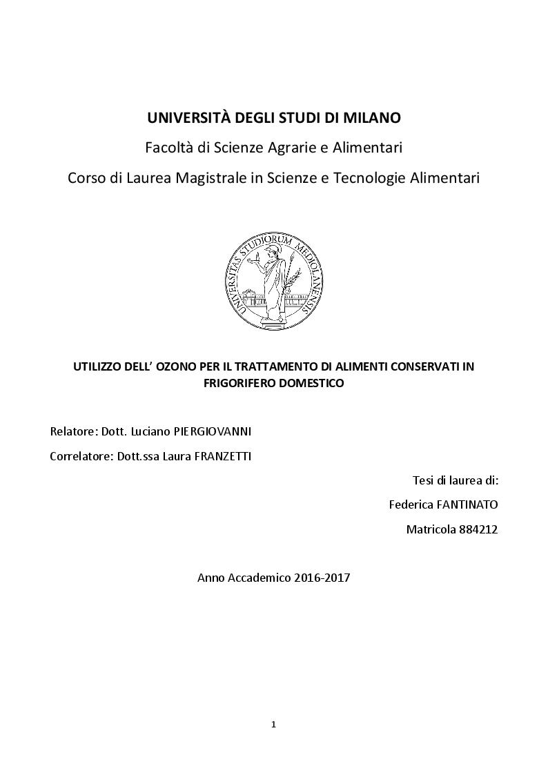 Anteprima della tesi: Utilizzo dell'ozono per il trattamento di alimenti conservati in frigorifero domestico, Pagina 1